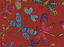 MULTICOLOUR BUTTERFLIES ON RED FABRIC FQ - REDUCED TO CLEAR