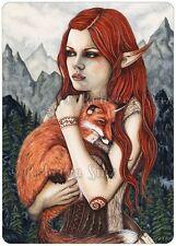 Fantasy Art ACEO PRINT Fox Elf Trees Mountains Friends Pet Shaman orange