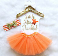 USA Thanksgiving Kid Baby Girl Jumpsuit Romper Bodysuit Tutu Headband Outfit Set