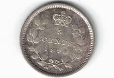 CANADA 1870 FLAT WIDE RIM FIVE CENTS QUEEN VICTORIA STERLING SILVER COIN