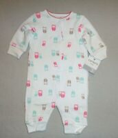 BNWT Baby Girls Pink Grey Owls Padded Babygrow Sleepsuit All In One 0-3 months