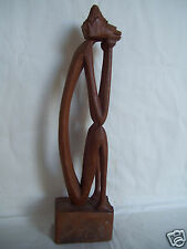 """Genuine Wood HANDCARVED Sitting Male 11"""" Figure With Hands On Cheek In Sad Mood"""