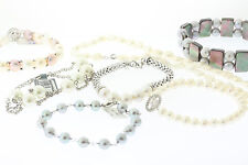 Lot of 7 Genuine Cultured Freshwater Pearl Sterling Silver Bracelets & Necklace