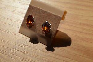 2.02ct Hessonite Mandarin Garnet Solitaire Earrings ~ Fine Sterling Silver