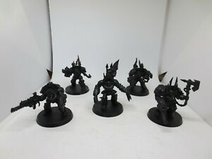 40K Chaos Space Marine - Chaos Terminator Squad 5 Base painted Warhammer A G230