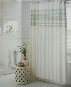 Threshold Fabric Shower Curtain Green Stripe Fringe