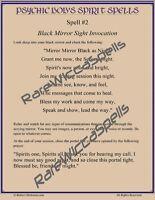 Psychic Bob's Spirit Spells #2  Black Mirror Sigil Invocation Poster 8.5x11 1pg