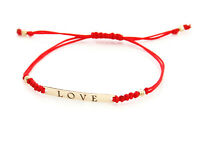 9ct Yellow Gold Friendship Love Red Cord String Bracelet Adjustable