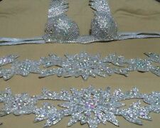 Egyptian Belly Dance Costume bra & Belt Set Professional Dancing White Sllver