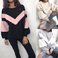 Women Winter Casual Warm Fluffy Fur Sweatshirt Hoodie Jumper Coat Top Pullover