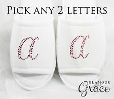 Initial Slippers Bride Bridal Wedding Personalised Customised Pink Letter Hens