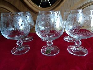 Set of 6 Bohemia Czech Crystal Cascade Etched Brandy wine water new unused mint