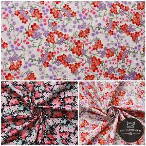 """100% Cotton Ethnic Cherry Blossom Floral Gold Foil Fabric 60"""" Top Quality"""
