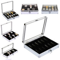 6/10/12 Aluminum Wristwatch Watch Jewellery Display Storage Case Box Transparent