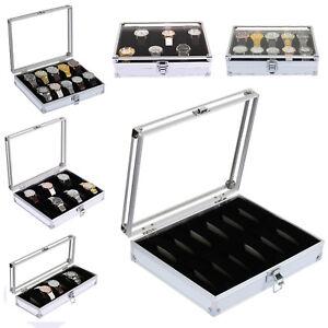6/10/12 Aluminum Wristwatch Watch Jewellery Display Storage Case Box Transparent