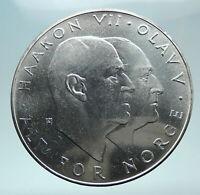 1970 NORWAY KING Olav V Haakon VII Norwegian 25 KR Silver 25 Kronor Coin i80975
