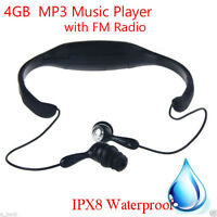 4GB Waterproof Diving MP3 Music Player with FM Radio for Swimming Surfing SPA US