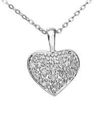 9ct White Gold Pave Set Diamond Heart Pendant and Chain of approx. 46cm BNIB
