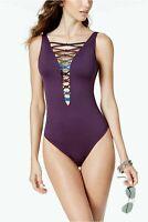 Bleu Rod Beattie Knotty But Nice Tummy Control Swimsuit Purple Size 4 NWT