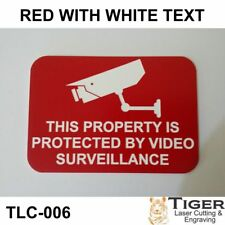 SECURITY CCTV WARNING SIGN - VIDEO SURVEILLANCE SIGN 10CM X 7CM - RED/WHITE