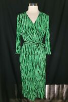 INC INTERNATIONAL CONCEPTS Size L Sheath Dress Green Black Animal 3/4th Sleeve