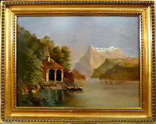 UNSIGNED! BOAT ON THE LAKE OF LUCERNE AT WILHELMS TELLS CHAPEL. NO RESERVE