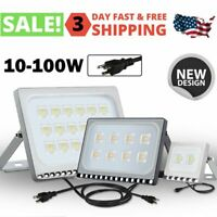 10W-100W LED Floodlight Outdoor Yard Flood Light Cool White Lamp Plug-In IP65 US