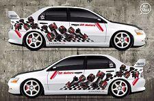 Car Side Full Color Graphics Vinyl Sticker Custom Body Decal Pistons Motorsports