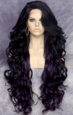 "40"" Long Lace Front Wig Full Beautiful Curly Dark Purple Mix Heat OK WBPR"