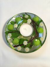 HAND MADE GLASS CANDLE HOLDER WITH FLORAL DESIGN ( Green Apples) Medium