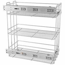Pull Out Storage Baskets 20cm Soft-Close Side Cargo - 3 Shelves - Chrome