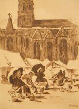 Antique pencil signed sepia etching Pierre Jean Poitevin 1900's