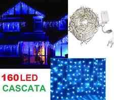 Pioggia 160 LED 2,5x0,80 metri.Luci Natale,mantello,cascata color blu ghiaccio