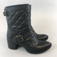 Clarks Narrative Black Faux Leather Ankle Zip Stacked Heeled Boots Size UK5.5D