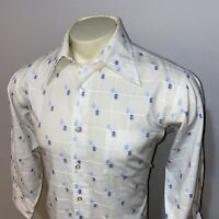 Vtg 50s 60s ENRO Dress Shirt Mid Century Marshall Field Disco Hippie Mens 16.5
