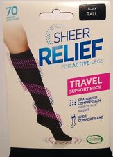 Sheer Relief Support Graduated Compression 70 D Sports Travel Flight Socks Veins Tall
