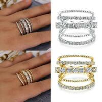 Dazzling Women 925 Silver Wedding Rings Jewelry White Sapphire Ring Size 6-10