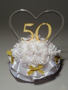 50th Golden Wedding Anniversary Acrylic Cake Topper (865-50) HANDCRAFTED IN USA