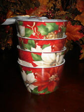 """222 FIFTH """"POINSETTIA HOLLY"""" SET OF 4 APPETIZER BOWLS CHRISTMAS"""