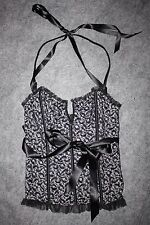 VS Victoria's Secret lace corset ribbon halter Black & White Size M