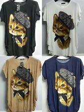 Ladies New Sequin Cats Print Plus Size Cap Sleeves Baggy t-Shirt Women's Top
