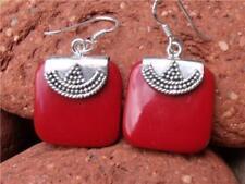 Pendientes de joyería ganchos coral de plata de ley