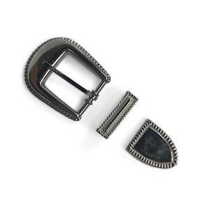 "1"" Silver Rope Trim 3 Piece Buckle Set w/ Buckle Keeper and Belt Tip Rivet Back"