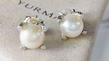 David yurman Sterling Silver Cable Stud Pearls Earrings with Diamonds