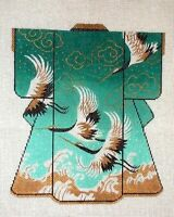 MZC Oriental Kimono Emerald Green Cranes HP Hand Painted Needlepoint Canvas