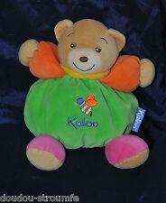Peluche Doudou Ours Boule Vert Bras Orange Abeille KALOO 1998 Col 18 Cm TTBE