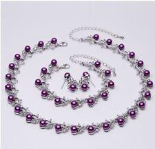 Imitación Perla y Diamante Púrpura Cristal Gargantilla Collar, pulsera y pendientes conjunto