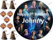 Personalised Dr Who Clock Birthday Cake Edible Icing Topper