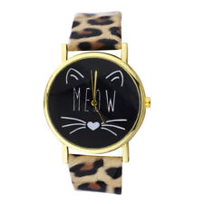 and Leopard Pattern Watch Band Watch Lux Accessories Gold Tone Meow Cat Face