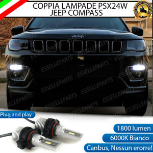 COPPIA LUCI DIURNE DRL LED PSX24W CANBUS JEEP COMPASS MK2 6000K 100% NO ERROR